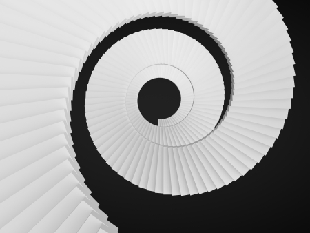 spiral staircase: Upside view of a spiral staircase Stock Photo