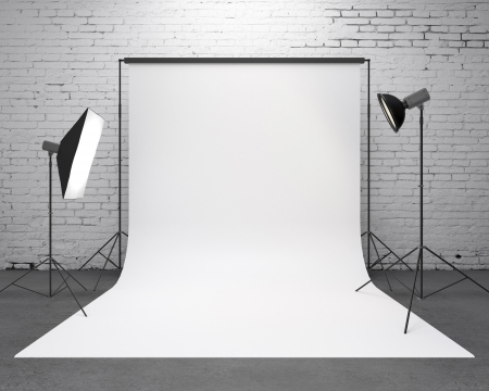 photography backdrop: photography  studio with a light set-up and backdrop