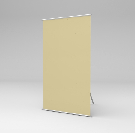 vertical yellow stand in gray background photo