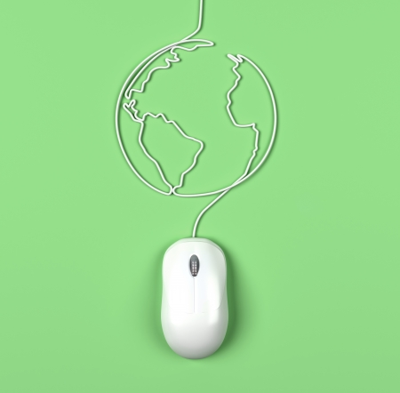 abstract Earth and mouse on green background photo