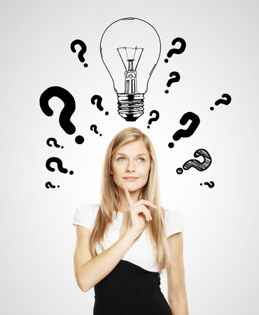 question concept: women with lamp