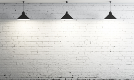 ceiling lamp: brick wall and three ceiling lamp Stock Photo