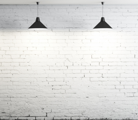 plafond: brick wall and two ceiling lamp Stock Photo