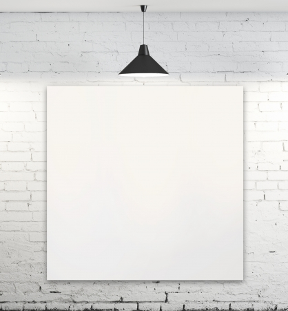 blank poster in room with ceiling lamp photo