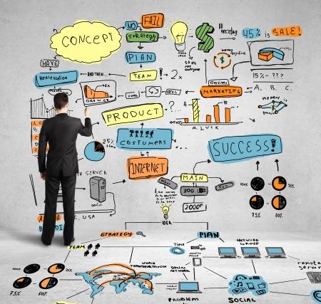 ötletroham: üzletember rajz színezett globális koncepció a falon