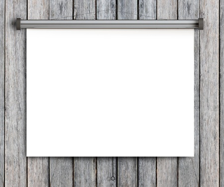 paper placard on grunge wooden wall photo