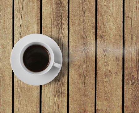 coffee cup on wooden table photo