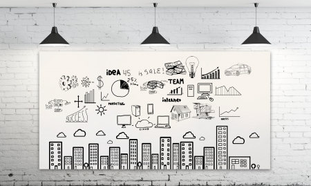 business scheme on poster and  three ceiling lamp Stock Photo - 17689901