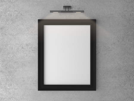 gallery wall: frame on concrete wall with wall lamp Stock Photo