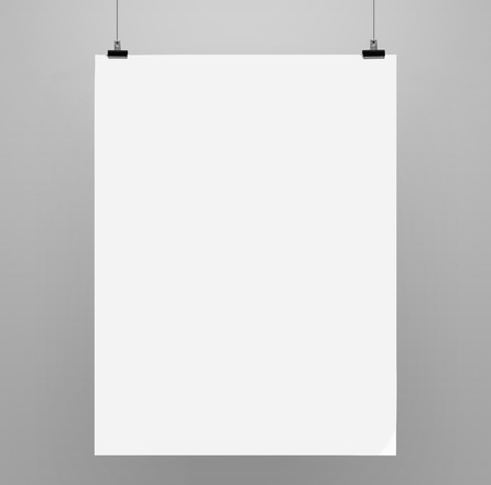 blank poster: paper card on a gray background