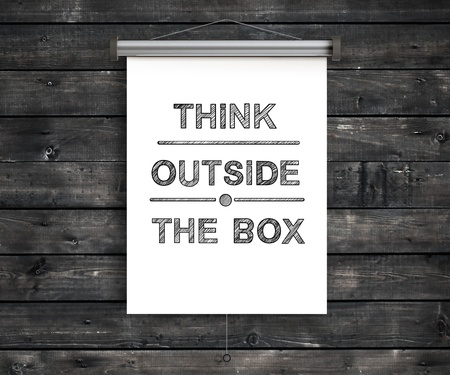 placard think outside the box photo