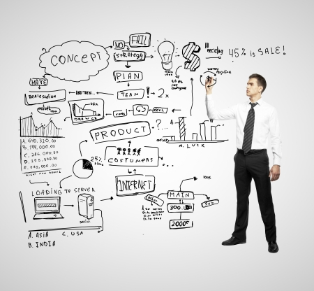 concep: businessman drawing global business concep