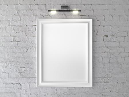 marco blanco y negro: marco blanco en la pared con l�mpara de pared Foto de archivo