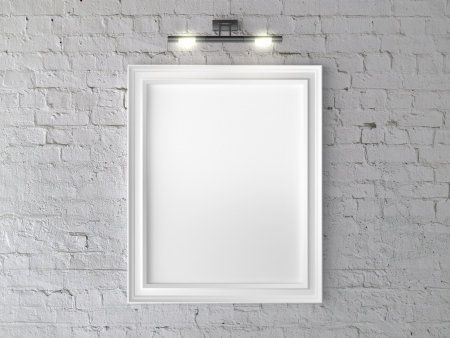 black picture frame: white frame on wall with wall lamp