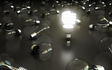 compact: lightbulbs on gray bakground, idea concept