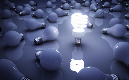 bakground: light bulbs on blue bakground, idea concept