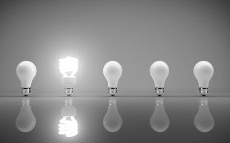 light bulbs on gray bakground Stock Photo - 17883962