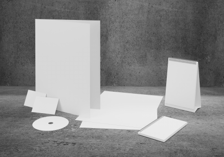 ard: corporate identity kit and business ñard on gray  background