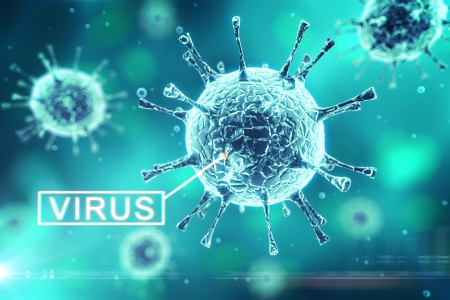 virus on a blue background photo