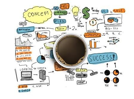 symbols of internet: coffee cup and colorized business strategy on a white background Stock Photo
