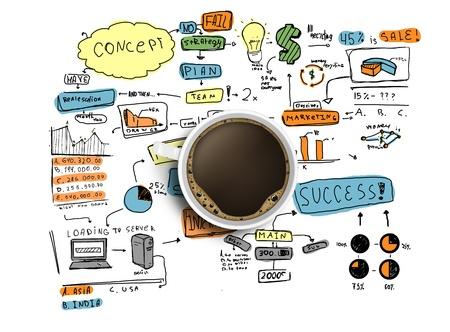 cafe internet: taza de café y la estrategia de negocios coloreada sobre un fondo blanco Foto de archivo