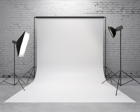 reflector: photography  studio with a light set-up and backdrop