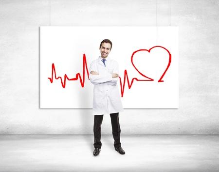 estetoscopio corazon: feliz médico y electrocardiograma en el cartel