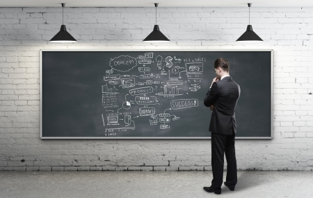 businessman looking at business strategy on blackboard Stock Photo - 18039285