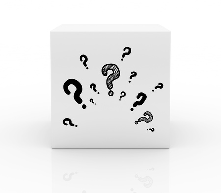 shopping questions: box on with question marks Stock Photo