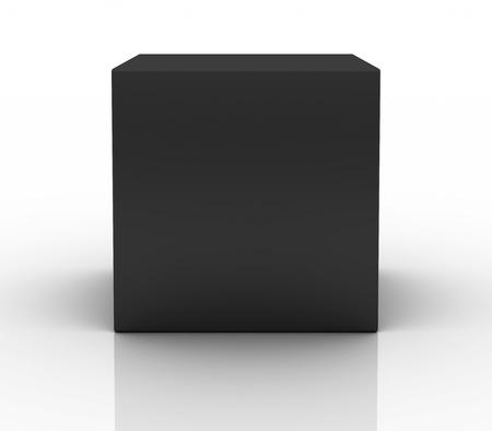 cajas de carton: cuadro negro sobre fondo blanco Foto de archivo