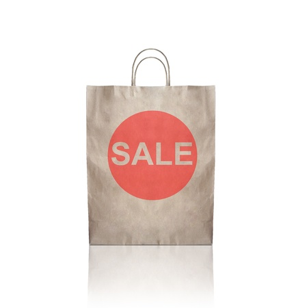 paper container: brown craft paper package with sale symbol Stock Photo