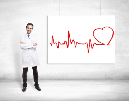 doctor and drawing cardiogram on placard photo