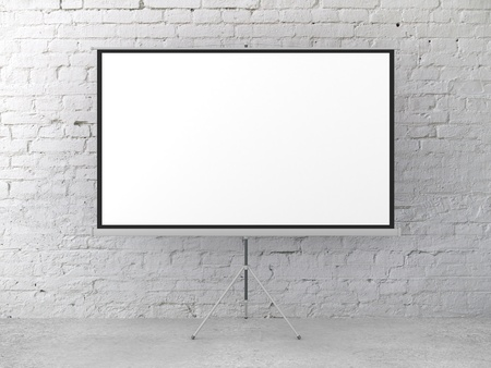 movie screen in brick room