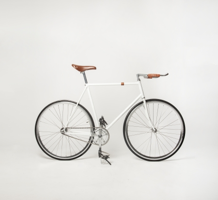 bicycle gear: hipster bicycle on white, fixed gear Stock Photo
