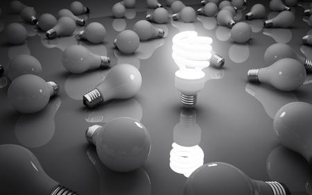 lightbulbs on gray background, idea concept Stock Photo - 18039153