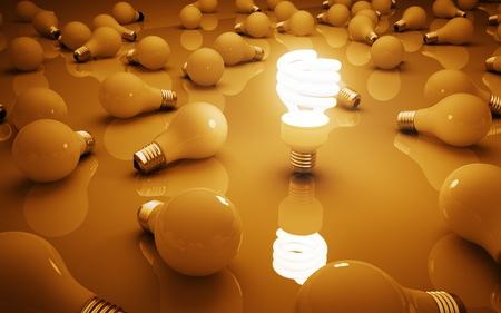 lightbulbs on yellow background, idea concept Stock Photo - 18039160