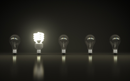 light bulbs on gray background Stock Photo - 18039145