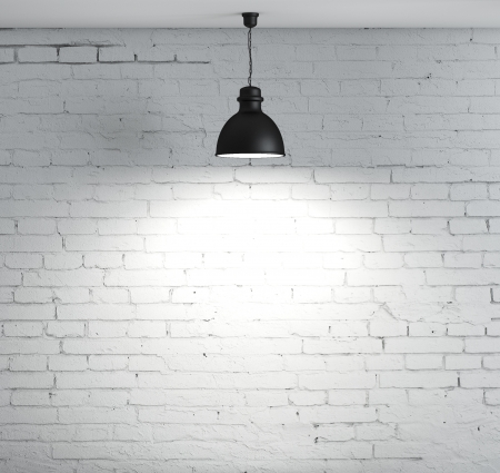 brick wall and ceiling lamp photo