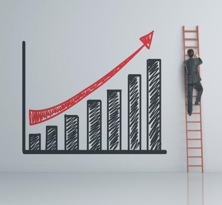drabiny: mężczyzna wspinaczka na drabinie i wykres