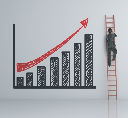 corporate ladder: man climbing on ladder and chart