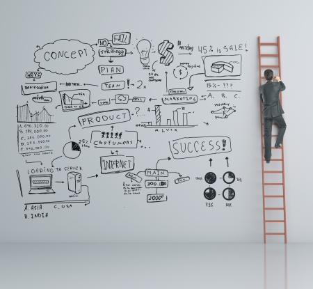 man climbing on ladder and business plan photo