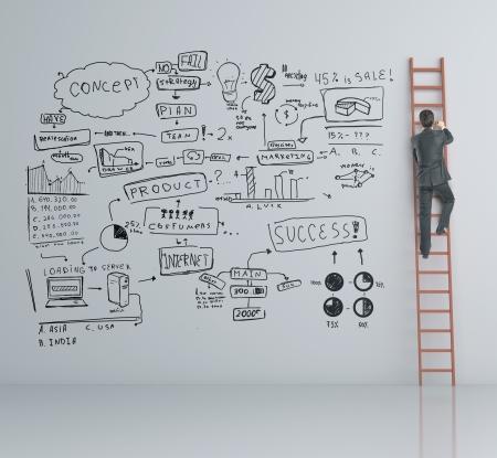 ladder of success: man climbing on ladder and business plan