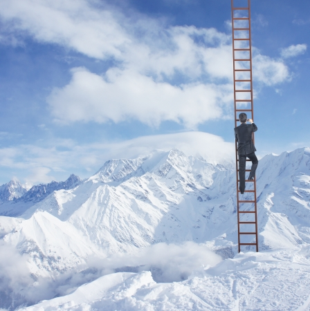 corporate ladder: man climbing on ladder and mountains