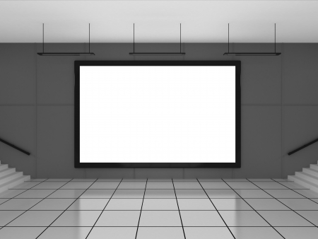 Blank billboard located in underground hall photo