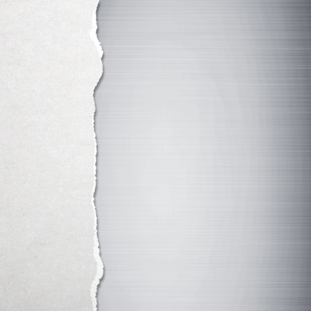 torn paper edge: Torn paper with metal background Stock Photo