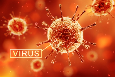 virus on a red background