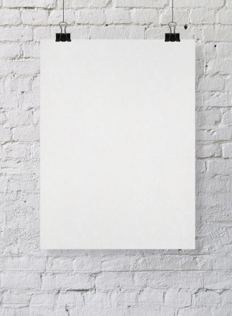 blank card: blank poster on a wall