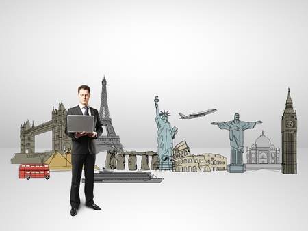 businessman holding notebook traveling concept Stock Photo - 18039642