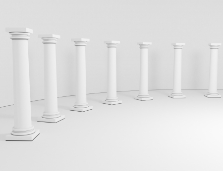 templo romano: columnas de fila en un fondo blanco