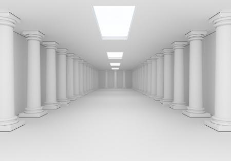 columnas romanas: interior blanca con columnas antiguas Foto de archivo